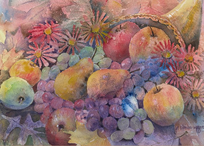 Cornucopia Greeting Card featuring the painting Cornucopia Of Fruit by Arline Wagner