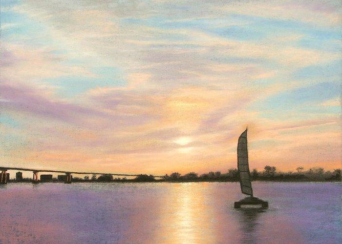 Coronado Greeting Card featuring the pastel Coronado Bridge Sunset B by Michael Heikkinen