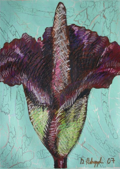 Corpse Greeting Card featuring the painting Corpse Flower by Dodd Holsapple