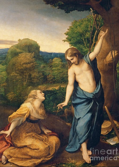 Noli Me Tangere Greeting Card featuring the painting Correggio by Noli Me Tangere