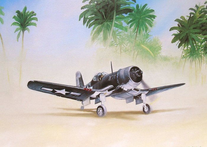 Aviation Greeting Card featuring the painting Corsair Preflight by Marc Stewart