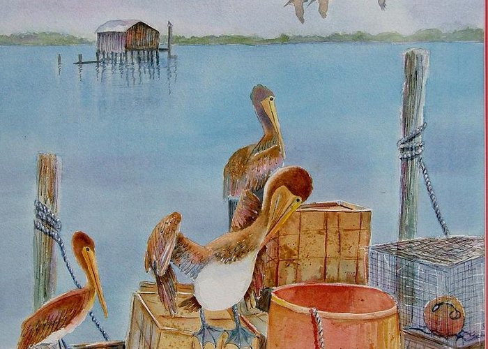 #cortez Village Greeting Card featuring the painting Cortez Fishing Village by Midge Pippel