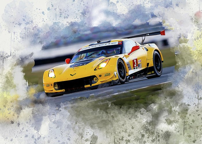 Corvette Greeting Card featuring the digital art Corvette Racing by Karl Knox Images