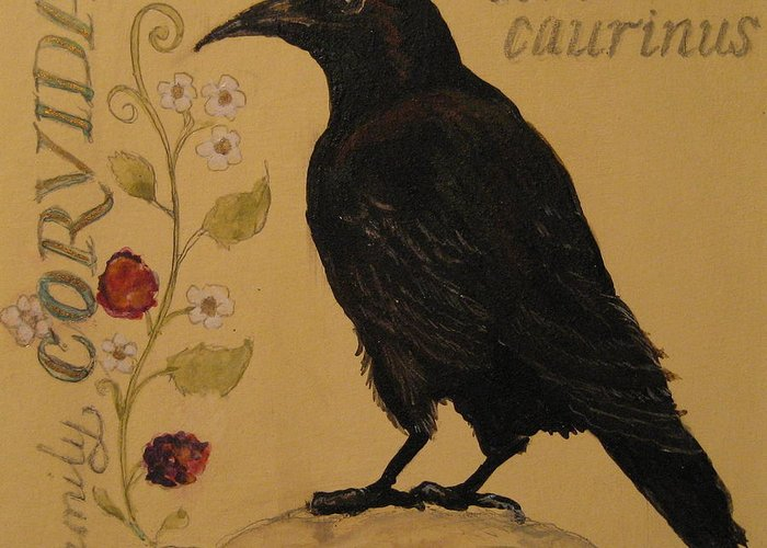 Crow Greeting Card featuring the painting Corvus Caurinus by Victoria Heryet