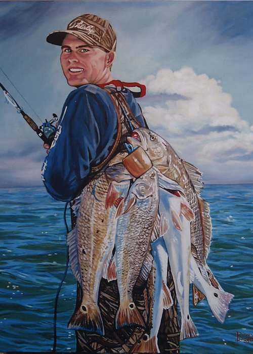 Portrait Greeting Card featuring the painting Cory by Diann Baggett