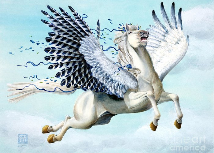 Artwork Greeting Card featuring the painting Cory Pegasus by Melissa A Benson