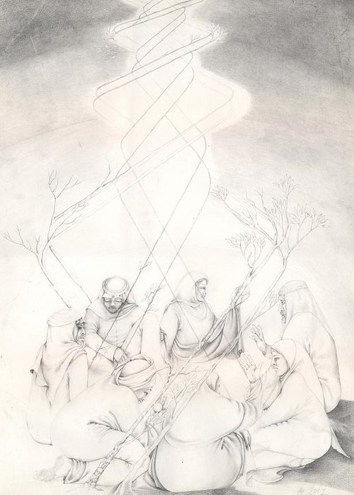 People Greeting Card featuring the drawing Cosmic Conference by Amrei Al-Tobaishi-Jarosch
