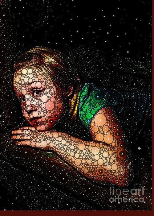 Portrait Greeting Card featuring the digital art Cosmic Dust by Ron Bissett