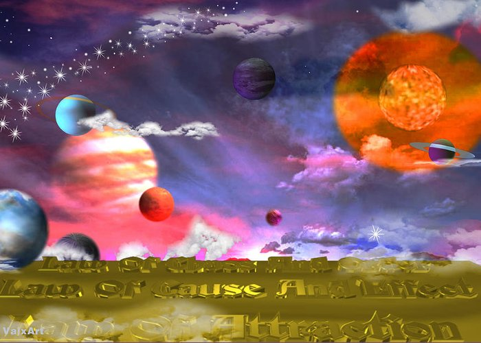 Cosmic Laws Greeting Card featuring the digital art Cosmic Laws by By ValxArt