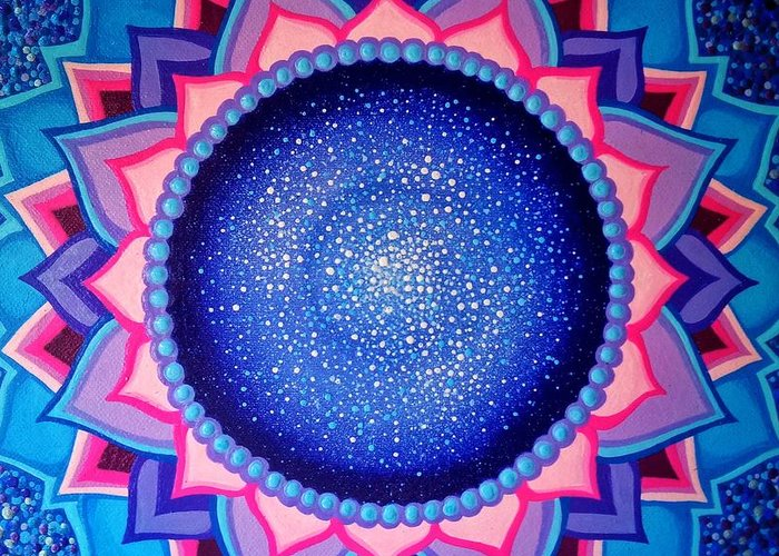 Cosmic Mandala Greeting Card featuring the painting Cosmic Mandala by Prashanti