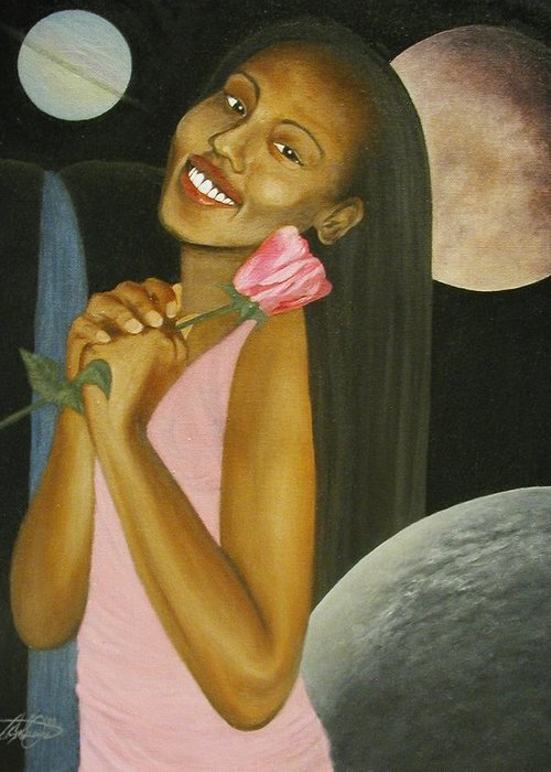 Portrait Greeting Card featuring the painting Cosmic Queen Courtney by Angelo Thomas