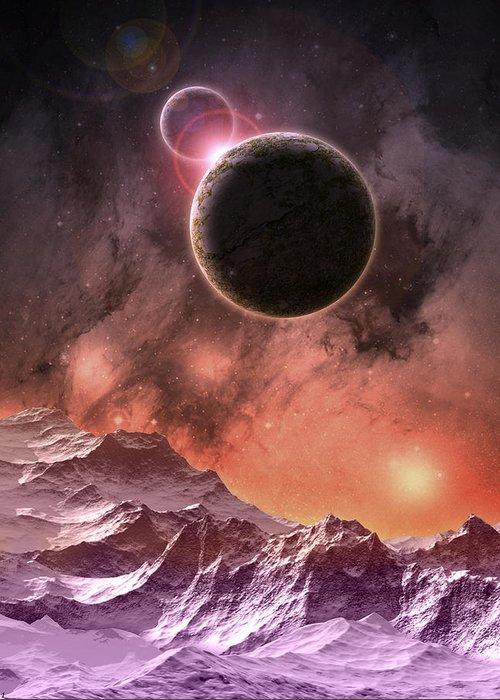 Digital Art Greeting Card featuring the digital art Cosmic Range by Phil Perkins