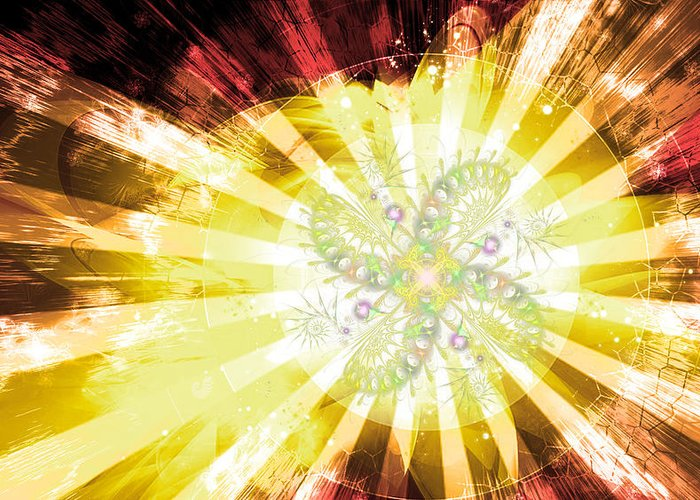 Corporate Greeting Card featuring the digital art Cosmic Solar Flower Fern Flare 2 by Shawn Dall