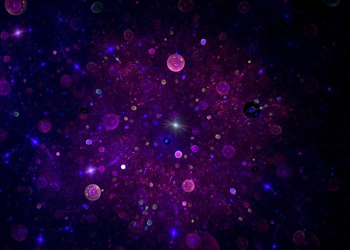 Abstract Greeting Card featuring the digital art Cosmic Wonders by Steve K
