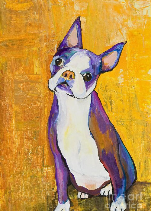 Boston Terrier Animals Acrylic Dog Portraits Pet Portraits Animal Portraits Pat Saunders-white Greeting Card featuring the painting Cosmo by Pat Saunders-White