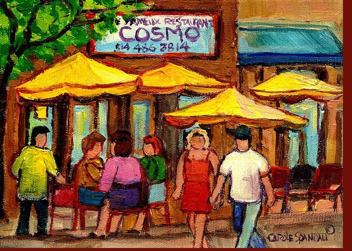 Cosmos Restaurant Greeting Card featuring the painting Cosmos Fameux Restaurant On Sherbrooke by Carole Spandau
