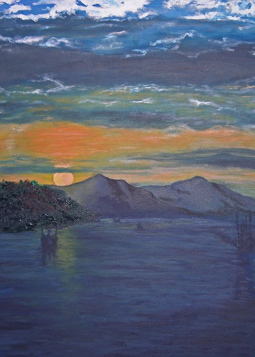 Seascape Greeting Card featuring the painting Costa Rica Sunset by Ladonna Idell