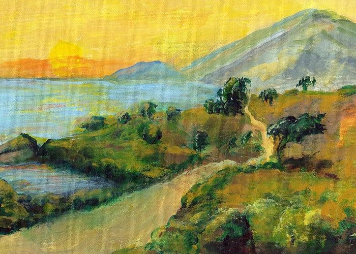 Sea Greeting Card featuring the painting Costa Rica Sunset by Randy Sprout
