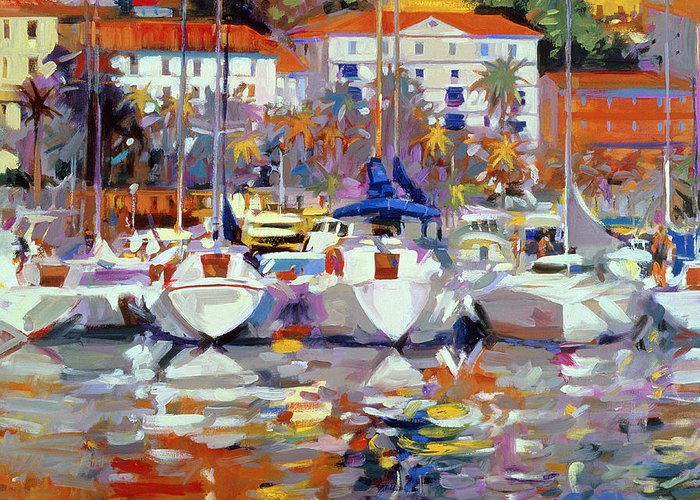 South Of France; Resort; Balmy; Mediterranean; Boat; Yacht; Harbour;french; Le Midi; Pyrenees; Exotic; Neo-impressionist Greeting Card featuring the painting Cote Du Midi by Peter Graham