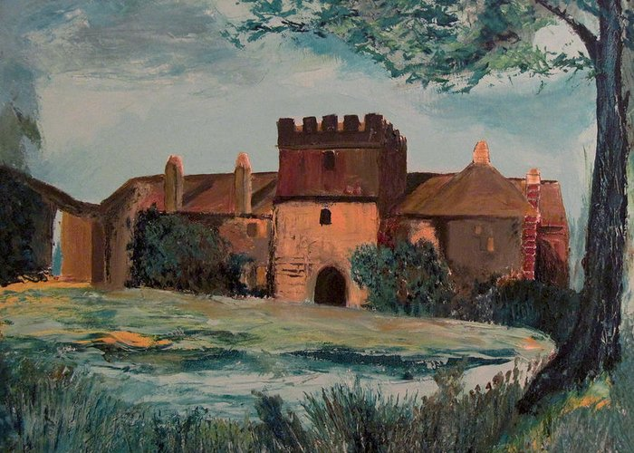 Cotehele Manor Greeting Card featuring the painting Cotehele Manor House by Richard Beauregard
