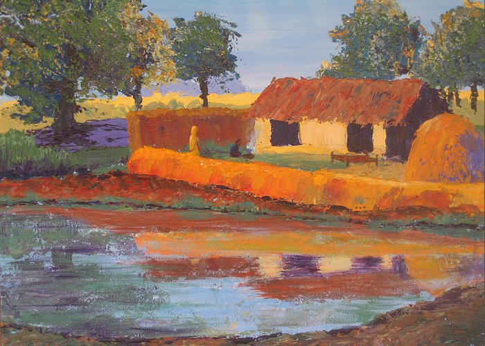Cottage Greeting Card featuring the painting Cottage By The Pond by Art Nomad Sandra Hansen