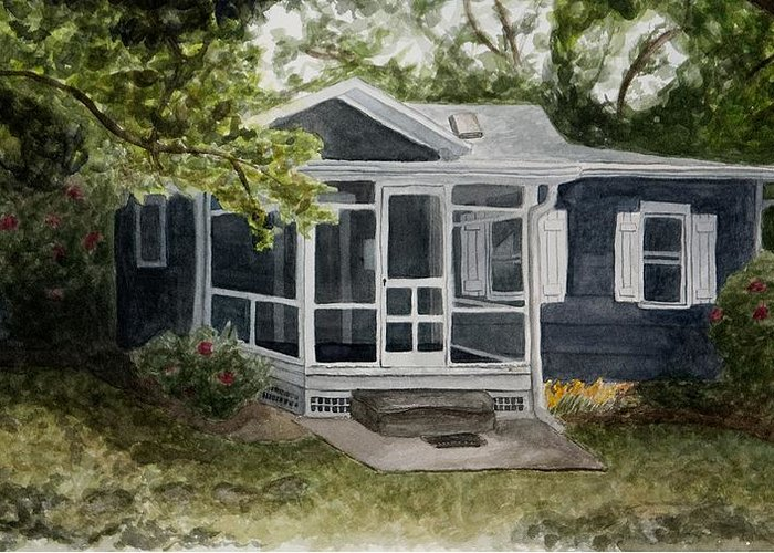 Cottage Greeting Card featuring the painting Cottage by Laura Shoop