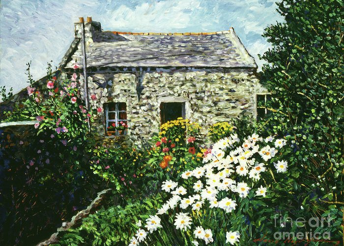 Landscape Greeting Card featuring the painting Cottage Of Stone by David Lloyd Glover
