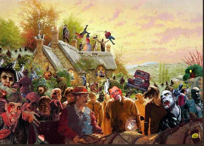 Kinkade Greeting Card featuring the digital art Cottage Of The Living Dead by Barry Kite