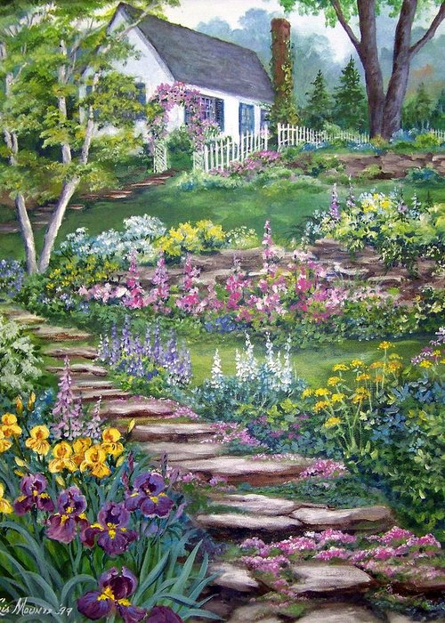 Landscape;cottage;white House;picket Fence;birch Tree;gardens;iris;stone Walk;rock Path;archway; Greeting Card featuring the painting Cottage On The Hilltop by Lois Mountz