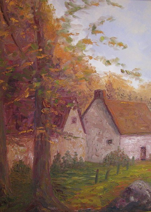 Landscape Greeting Card featuring the painting Cottage On The Moors by Belinda Consten