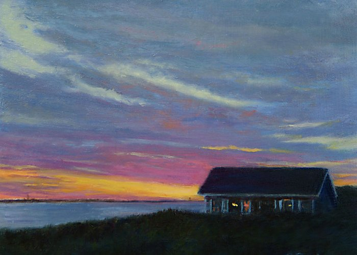 Landscape Greeting Card featuring the painting Cottage with a View by Phyllis Tarlow