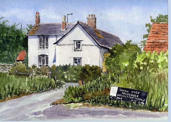Ancient Greeting Card featuring the painting Cottages At Binsey. Nr Oxford by Mike Lester