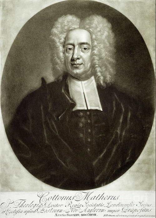 18th Century Greeting Card featuring the drawing Cotton Mather 1663-1728 by Granger