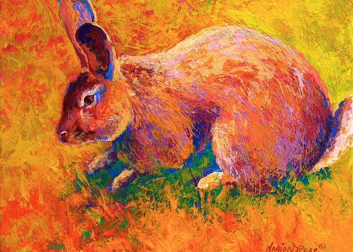 Rabbit Greeting Card featuring the painting Cottontail I by Marion Rose