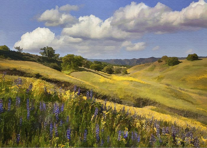 Lupine Greeting Card featuring the digital art Cottonwood Canyon by Sharon Foster