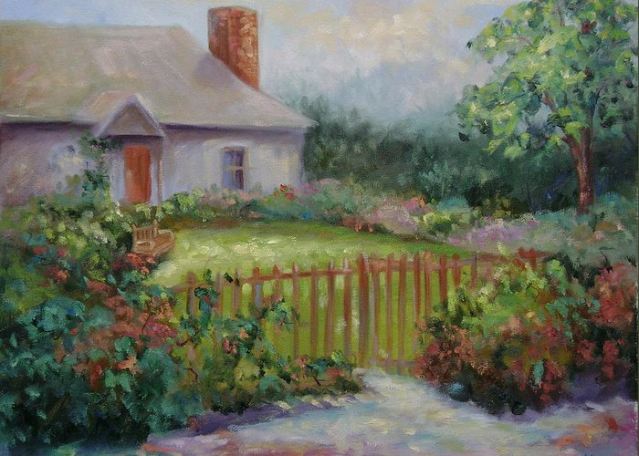 Cottswold Greeting Card featuring the painting Cottswold Cottage by Ginger Concepcion