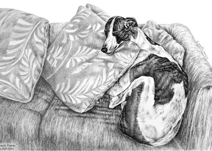 Greyhound Greeting Card featuring the drawing Couch Potato Greyhound Dog Print by Kelli Swan