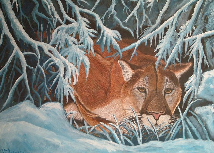Cougar Snow Wildlife Nature Greeting Card featuring the painting Cougar In Snow by Nick Gustafson