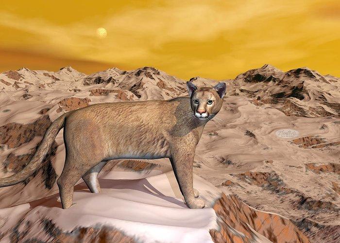 Puma Greeting Card featuring the digital art Cougar In The Mountain - 3d Render by Elenarts - Elena Duvernay Digital Art