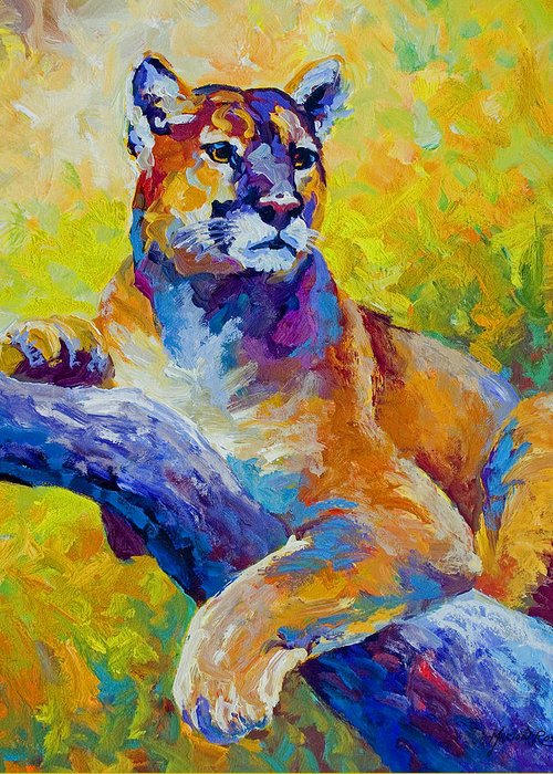 Mountain Lion Greeting Card featuring the painting Cougar Portrait I by Marion Rose