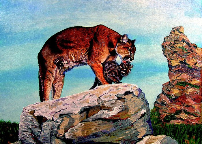 Cougar Greeting Card featuring the painting Cougars Mother And Cub by Stan Hamilton