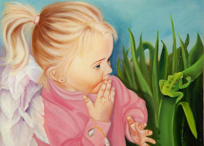 Angel Greeting Card featuring the painting Could This Be My Prince by Joni McPherson
