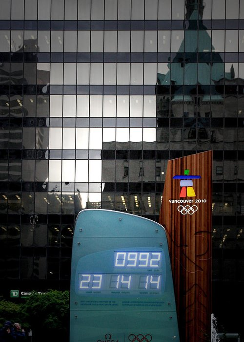 Olympics Greeting Card featuring the photograph Countdown Clock Olympic Winter Games Vancouver Bc Canada 2010 by Christine Till
