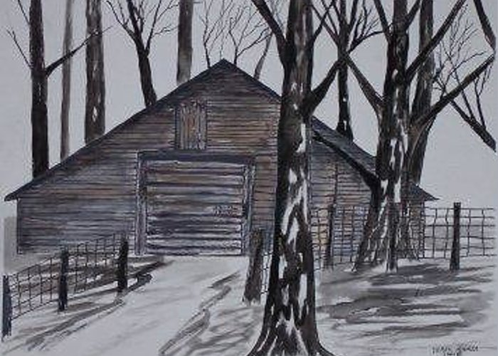 Watercolor Landscape Painting Barn Pen And Ink Drawing Print Original Greeting Card featuring the painting Country Barn Pen And Ink Drawing Print by Derek Mccrea