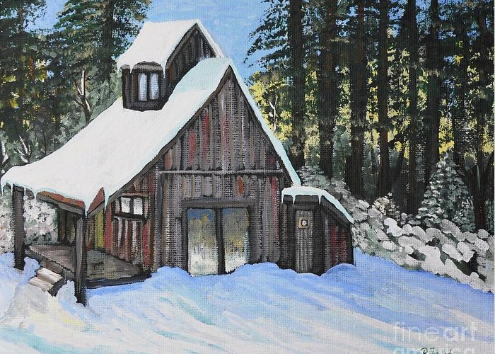 Cabins Greeting Card featuring the painting Country Cabin by Reb Frost