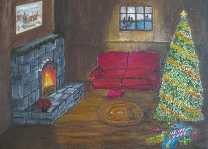 Christmas Tree Greeting Card featuring the painting Country Christmas Card by Ragnar Jonsson