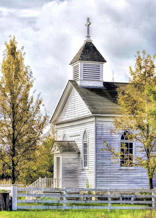 Old World Wisconsin Greeting Card Featuring The Painting Country Church At By Christopher