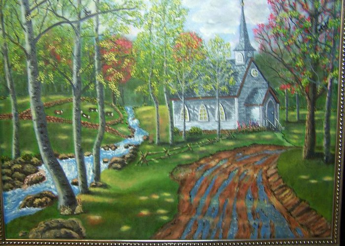 Landscape Greeting Card featuring the painting Country Church by Charles Vaughn