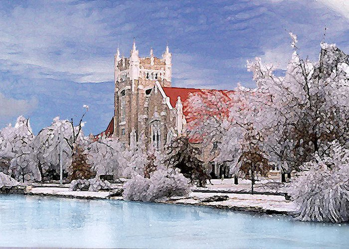 Winter Greeting Card featuring the photograph Country Club Christian Church by Steve Karol