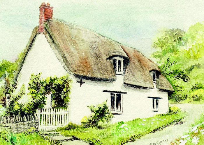 Country Greeting Card featuring the painting Country Cottage England by Morgan Fitzsimons